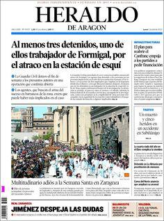 Los Titulares y Portadas de Noticias Destacadas Españolas del 1 de Abril de 2013 del Diario Heraldo de Aragon ¿Que le parecio esta Portada de este Diario Español?