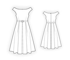 Dress With Open Shoulders - Sewing Pattern #4400. Made-to-measure sewing pattern from Lekala with free online download.