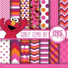 ELMO Papel Digital Fondos Comerciales niña por LagartixaShop, $4.00 #elmo #pinkelmo #partyprintables #digitalpaper #scrapbooking #geometric