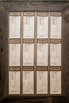 Vintage Basebell Wedding: Reception Seating chart.  Each table is named after a baseball park and the seating at the table is a lineup.
