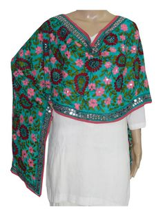 Super Georgette Stole Handembroidery SuperGeorgette Stole with Traditional Embroidery Work  Stole Length 2.25 Meter, Width 0.5 Meter  Wash Care Dry Clean Shop Now ; http://www.jankiphulkari.com/sky-blue-super-georgette-stole-jsgs1032