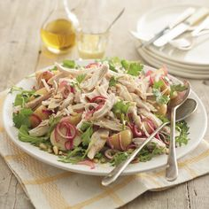 Warm Chicken and Chopin Potato Salad, a delicious recipe from the new Cook with M&S app. Healthy Meals For Two, Healthy Recipes, Healthy Dinners, Tasty, Yummy Food, Food Words, Summer Salads, Pasta Salad, Potato Salad