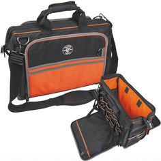 Tradesman Pro Organizer Ultimate Electrician's Bag Features: - 55 pockets for ultimate tool storage - Lock bars to keep bag propped open - Two padded meter pockets - Orange interior for easy tool visi