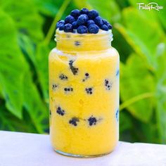 Pineapple, mango, banana sorbet by Fully Raw Kristina.  FullyRaw Mango Pineapple Sorbet! Blend frozen mango, pineapple, and banana, and layer with blackberries and blueberries!