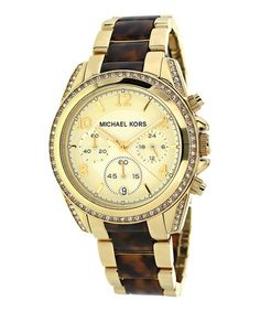 Another great find on #zulily! Goldtone & Brown Blair Chronograph Watch by Michael Kors #zulilyfinds
