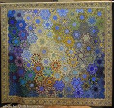 """""""Grandmother - Sisters' Garden"""", 88 x 96"""", by Jocelyn Thornton, New Zealand. 2015 World Quilt show, photo by Quilt Inspiration"""