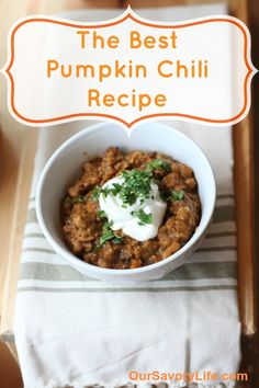 This is the BEST pumpkin chili I have ever made! Super flavorful and so simple to make!! A perfect weeknight meal!