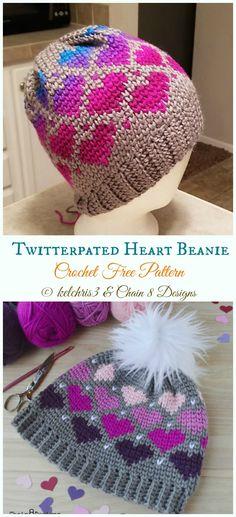 Twitterpated Heart Beanie Hat Crochet Free Pattern - #Valentine; Heart Beanie #Hat; Free #Crochet; Patterns