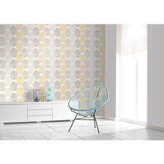 Juliette Scandi Leaf x Wallpaper Roll Zipcode Design Colour: Yellow Grey Glitter Wallpaper, Striped Wallpaper, Geometric Wallpaper, Print Wallpaper, Wallpaper Roll, Mustard Wallpaper, Wallpaper Panels, Wallpaper Ideas, Glitter Bedroom
