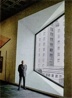 Marcel Breuer in LIFE 1966. Standing at the asymmetric window in the new (old) Whitney Museum that he designed.