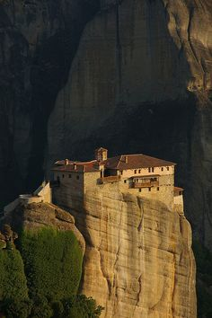 Roussanou Monastery, Meteora, Greece. [Featured in Richard Halliburton's Book of Marvels from the late 1930s, but he didn't have an aerial photo like this one.]