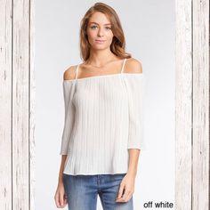 Could shoulder pleated blouse Elegant Ivory could shoulder top Tops Blouses
