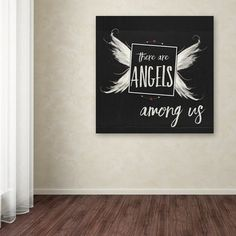 "Ebern Designs 'Angels Among Us' Textual Art on Wrapped Canvas Size: 14"" H x 14"" W x 2"" D"