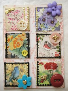"""""""Add a Button"""" Inchies by Donetta's Beaded Treasures Fabric Art, Fabric Crafts, Paper Crafts, Button Crafts For Kids, Inchies, Art Trading Cards, Button Cards, Fabric Journals, Textiles"""