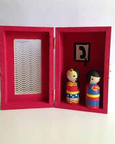 Superman & Wonder Woman peg doll and by TeenyWeenyBoutique on Etsy