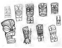 Tiki comes from Polynesian Tiki Maske, Tiki Art, Tiki Tiki, Mahalo Hawaii, Tiki Faces, Tiki Tattoo, Tiki Head, Tiki Totem, Travel Sketchbook