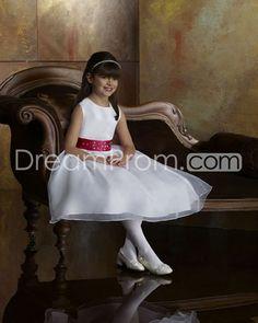 Amazing A-line Scoop Tea-length Beaded Flower Girl Dress