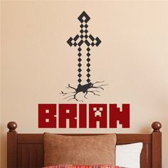 Custom Minecraft Name Room Decal _ Boys Minecraft Personalized Video Game Bedroom Wall Sticker _ DIY Minecraft _ Trendywalldesigns