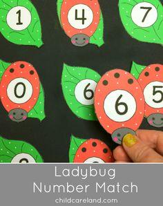Ladybug Number Match Match Center For Preschool and Kindergarten