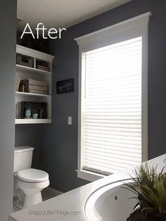 Bathroom remodel in progress: new built-in shelving, paint + Levolor blinds (builders grade bathroom upgrade)   by SnazzyLittleThings.com