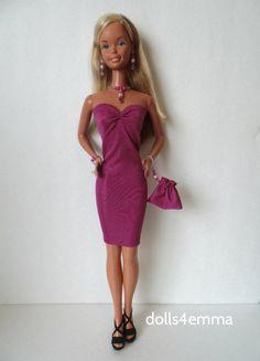 SuperSize Barbie Clothes Handmade DRESS +PURSE +JEWELRY Sexy Fashion NO DOLL d4e