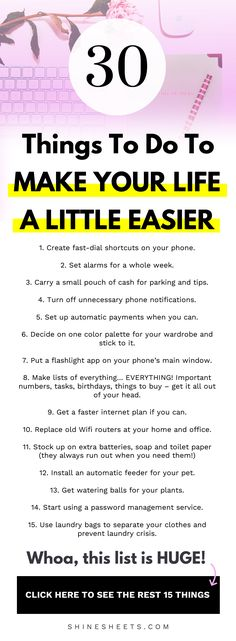 Things To Do To Make Your Life A Little Easier + FREE Printable Checklist How to make your life easier with a handful of simple, easy to do, helpful things + FREE printable checklist to get you started right away. Life Hacks Every Girl Should Know, Girl Life Hacks, Simple Life Hacks, Daily Life Hacks, 1000 Lifehacks, Karma, Life Hacks Websites, Better Life Quotes, Declutter Your Life