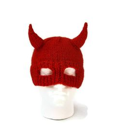 a46a4eaba7f Red devil horns hat knit mens balaclava Halloween helmet by jarg0n