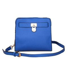 Michael Kors Hamilton Lock Medium Blue Crossbody Bags