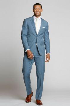 Light Blue Suit - The Groomsman Suit Light Blue Suit Jacket, Mens Light Blue Suit, Blue Pants Men, Light Blue Pants, Suit Pants, Blue Groomsmen Suits, Blue Tuxedos, Light Blue Suit Wedding, Wedding Suits