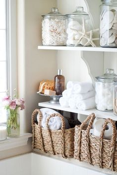 These DIY bathroom linen shelves are practical and very attractive. (And we're pleased to point out that the wood shelf brackets came from The Home Depot.) Kristen Whitby takes you through this beach-themed bathroom upgrade, including adding beadboard and Nautical Bathroom Design Ideas, Beach Theme Bathroom, Diy Bathroom, Small Bathroom, Bathroom Designs, Bathroom Ideas, Master Bathroom, Bathroom Inspiration, Bathroom Closet
