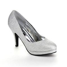 acd5fc5fd6a66 Kiss  amp  Tell Valonia-18 Women s Glitter Round Toe Slip On Stiletto Pumps