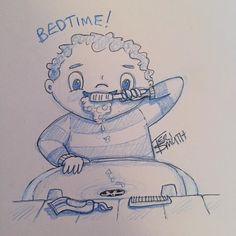 From my sketchbook: BEDTIME!  #fb #twitter #illustration #sketchbook #childrensillustration #BrushYourTeeth