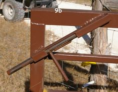 Gate latch - homemade welded.  It can be opened and closed from horseback.