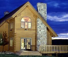 Log home in the evening