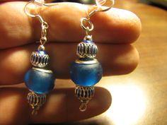 blue frost earrings, hooks are sterling silver
