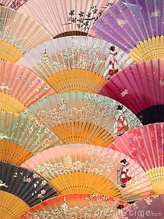 Colorful Japanese fans