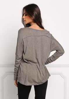 Olive Marled Button Trim Top - Tees - Tops - Clothes