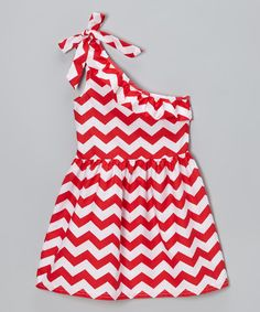 Take a look at this Red Zigzag Ruffle Asymmetrical Dress - Toddler & Girls on zulily today!