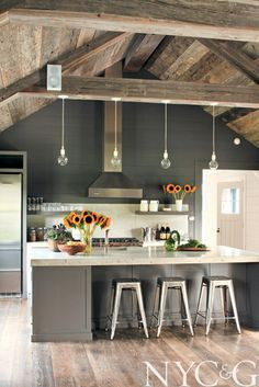 .Farmhouse Kitchen With Wood Beams Grey Color