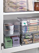 Tall Hinged Binz - clear pantry containers   Solutions- I like these. organization and extra help to keep the bugs out