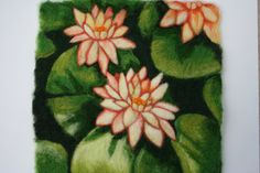 Needle Felted Art Wall Hanging  Water Lilies