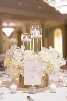 Gold wedding centerpieces, simple elegant centerpieces, floating candles we White Wedding Decorations, Wedding Table Centerpieces, Floral Centerpieces, Wedding Themes, Wedding Colors, Decor Wedding, Quinceanera Centerpieces, Short Centerpieces, Wedding Reception