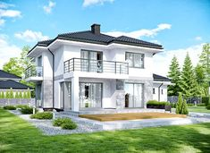 APS 266 + 2G - zdjęcie 1 Modern Architecture House, Modern House Design, Architecture Design, Facade Design, Style At Home, House Plans Mansion, Architectural House Plans, Property Design, Modern Farmhouse Exterior