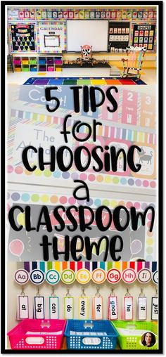 My Top 5 Tips for Choosing a Classroom Theme is part of Kindergarten classroom themes - Choosing a classroom theme can be a tough decision for new and veteran teachers alike! Here are my top five tips for choosing a theme to fit your style Elementary Classroom Themes, Classroom Decor Themes, First Grade Classroom, Classroom Design, Future Classroom, Classroom Organization, Montessori Elementary, Seasonal Classrooms, Classroom Teacher