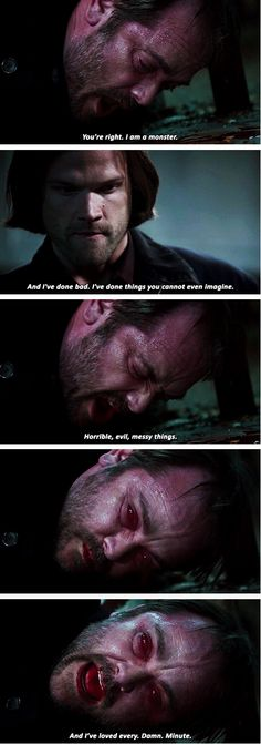 "Supernatural 10x22 The Prisoner // Sam and Crowley ""And I've loved every. Damn. Minute."" [gifset]"