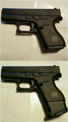 Glock 43 with and without +2 extended magazine base.Loading that magazine is a pain! Get your Magazine speedloader today! http://www.amazon.com/shops/raeind