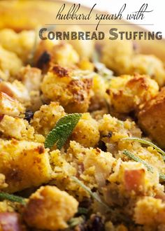 Looking for an impressive vegetarian centerpiece or side dish for Thanksgiving? Hubbard squash filled with cornbread stuffing is just the thing. Thanksgiving Side Dishes, Thanksgiving Recipes, Holiday Recipes, Winter Recipes, Gluten Free Stuffing, Gluten Free Cornbread, Wine Party Appetizers, Homemade Chicken And Dumplings, Whole Food Recipes