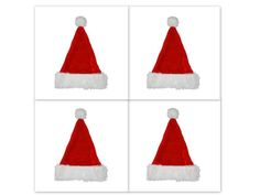 """Lot of 4 Trim A Home 17"""" Deluxe Red Furry Santa Hat Size Large Fits Most Adults #TrimAHome"""