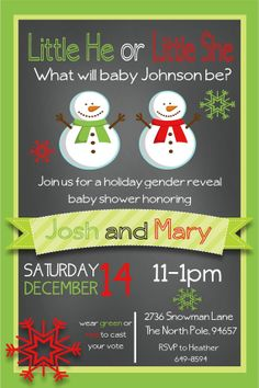 Snowman Gender Reveal Invitation
