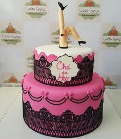 Or just have a cake with the leg topper Lingerie Cake, Lingerie Party, Tea Cakes, Cupcake Cakes, Hen Party Cakes, Fondant, Sugar Lace, Chocolate Color, Cake Designs